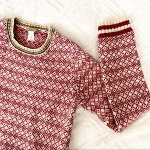 J. Crew Wool Sweater Mauve Nordic Letterman Style